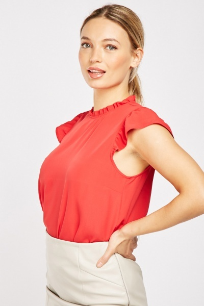 Ruffle Trim Red Top
