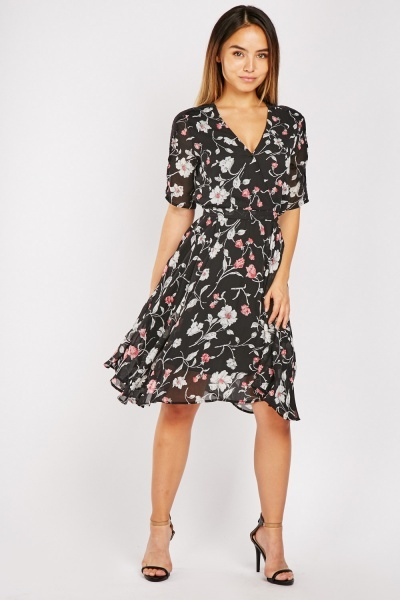 Lace Trim Midi Tea Dress