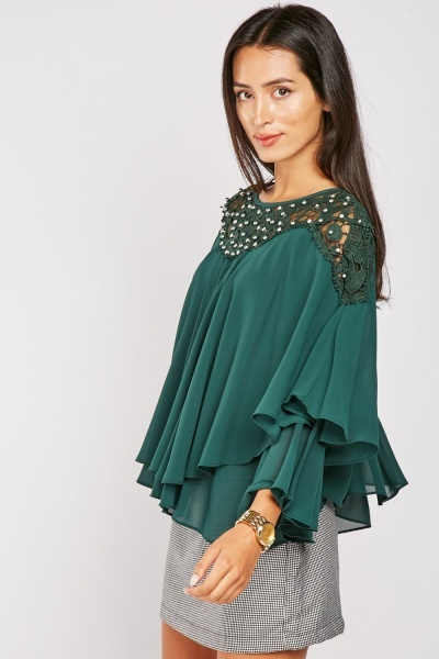 Encrusted Crochet Poncho Top