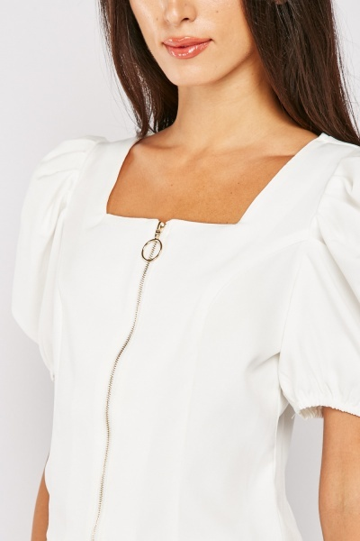 Puff Sleeve Top With Square Neck