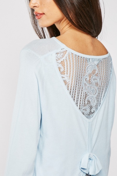 Lace Back Knit Top