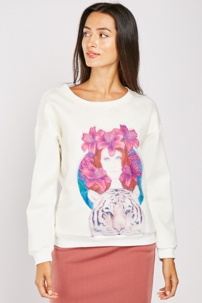 Organza Graphic Printed Sweatshirt