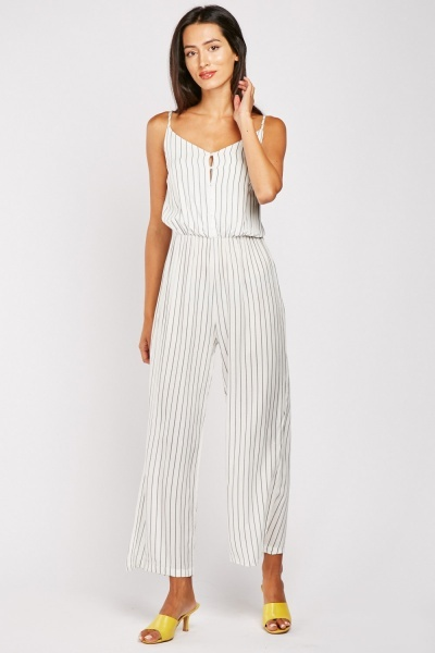 Pinstriped Strappy Jumpsuit