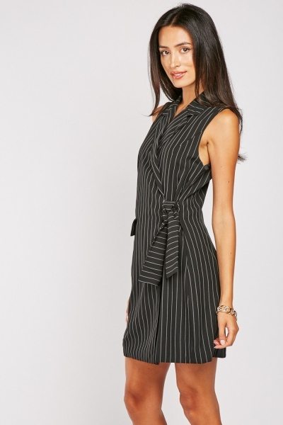 Pinstriped Tie Up Blazer Dress