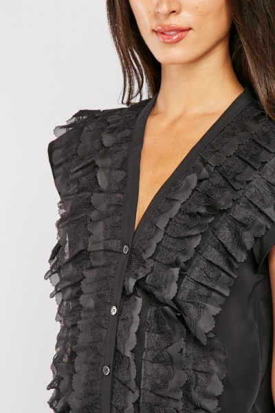 3D Ruffle Detail Blouse
