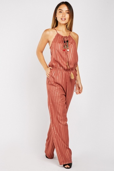 Tie Up Tassel Front Striped Jumpsuit