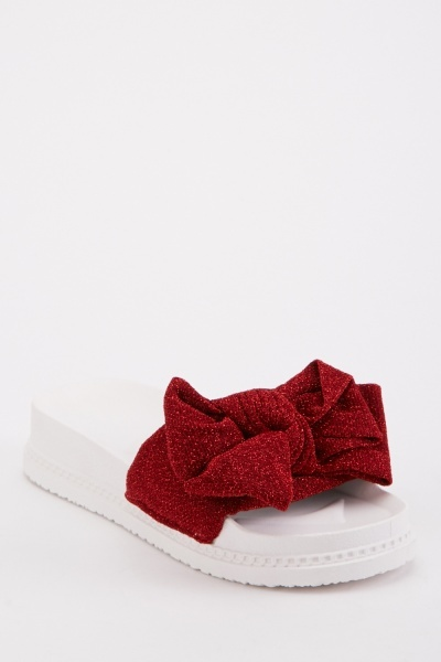 Knotted Lurex Platform Sliders