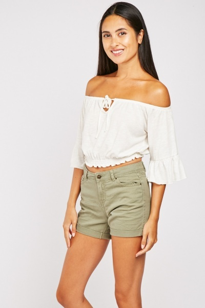 Roll Up Hem Cotton Shorts