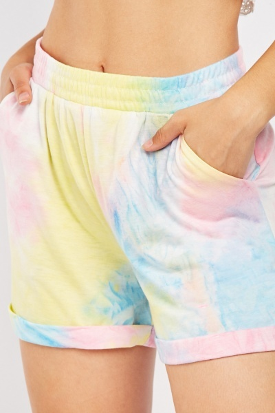 Tie-Dyed Printed Shorts