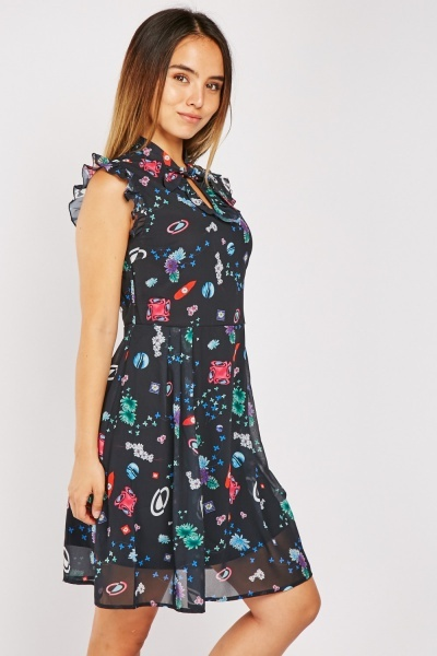Ruffle Trim Printed Dress