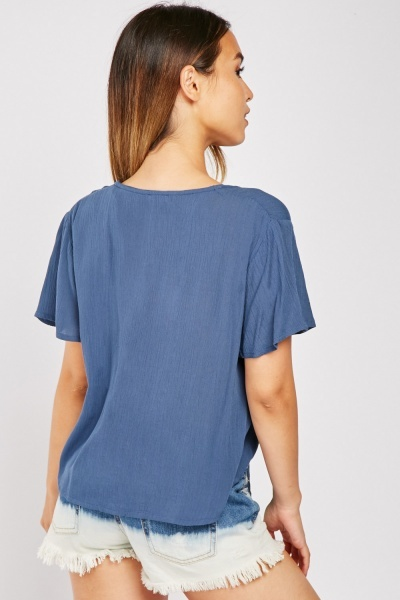 Textured Middle Blue Blouse