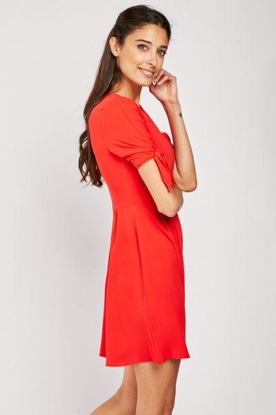 Tie Up Sleeve Tea Dress