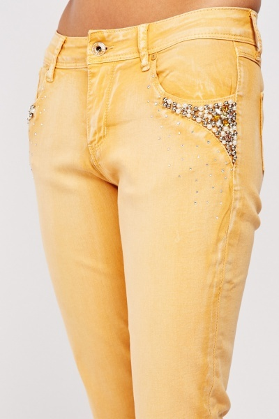 Embellished Faded Skinny Jeans