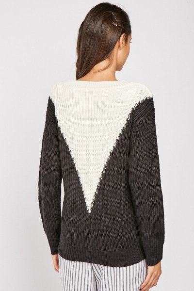 Colour Block Chunky Knit Jumper