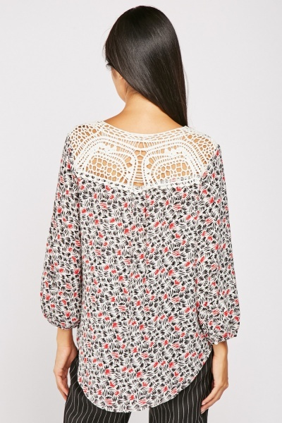 Crochet Trim Back Blouse