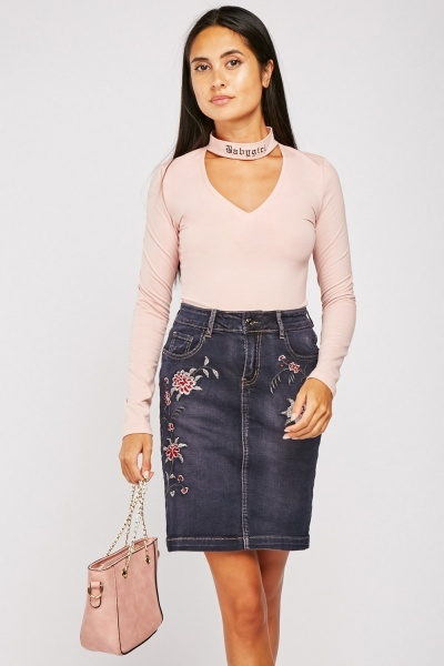 Embroidered Mini Denim Skirt