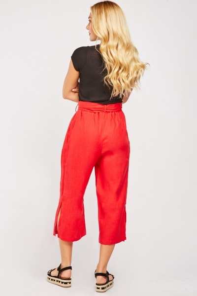 Buckle Belted Crop Trousers