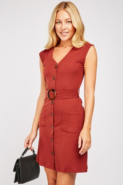 O-Ring Belted Ribbed Dress