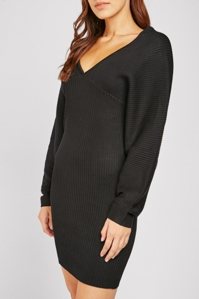 Batwing Sleeve Ribbed Bodycon Dress