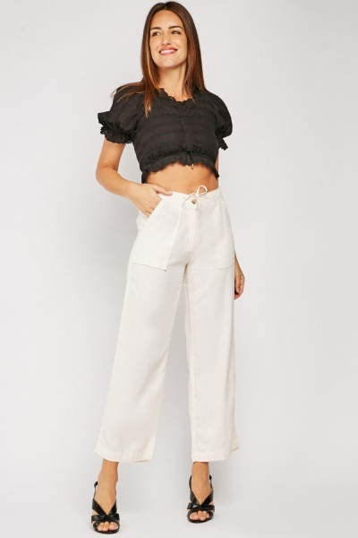 Linen Mix Straight Fit Trousers