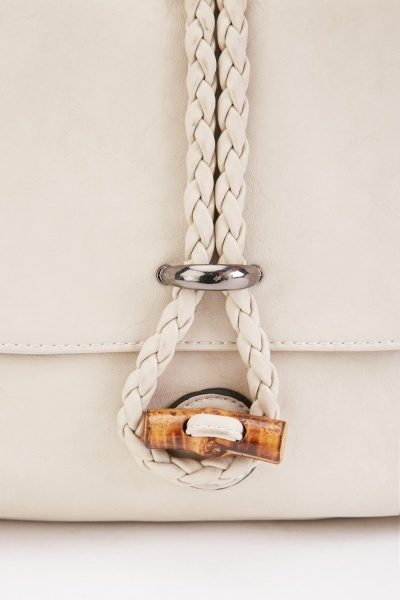 Braided Strap Faux Leather Bag