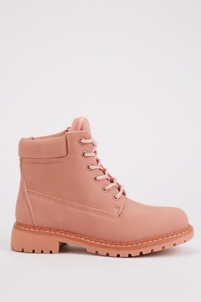 Pink Suedette Ankle Boots
