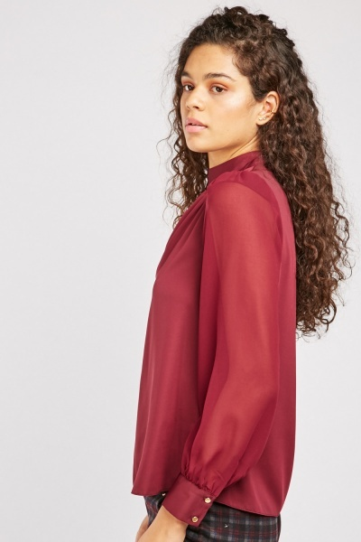Sheer Bishop Sleeve Blouse