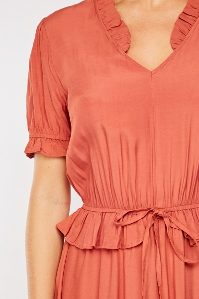 Ruffle Panel Rust Midi Dress