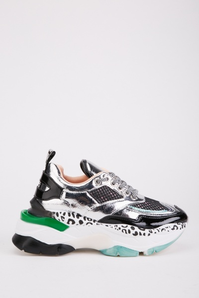 Metallic Animal Printed Trainers