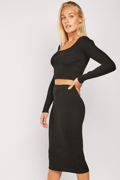 Ribbed Square Neck Top And Skirt Set