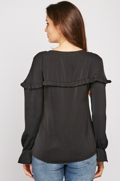 Tie Up Neck Ruffle Trim Blouse