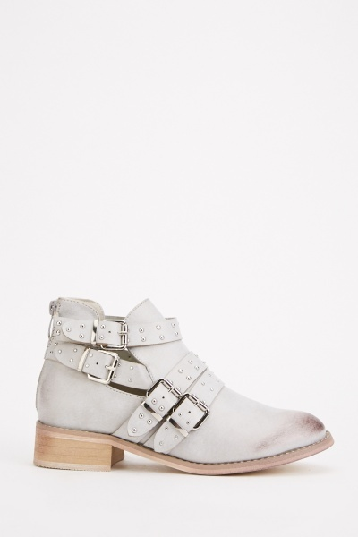 Studded Buckle Strap Ankle Boots