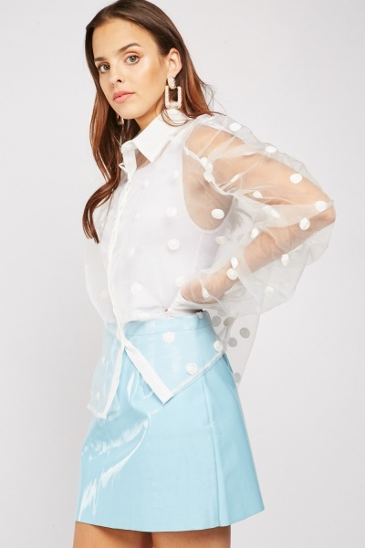 Embroidered Polka Dot Organza Shirt