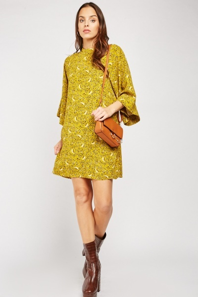 Printed Kimono Sleeve Shift Dress