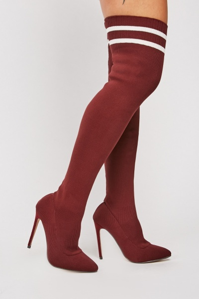 Ribbed Knee High Heels
