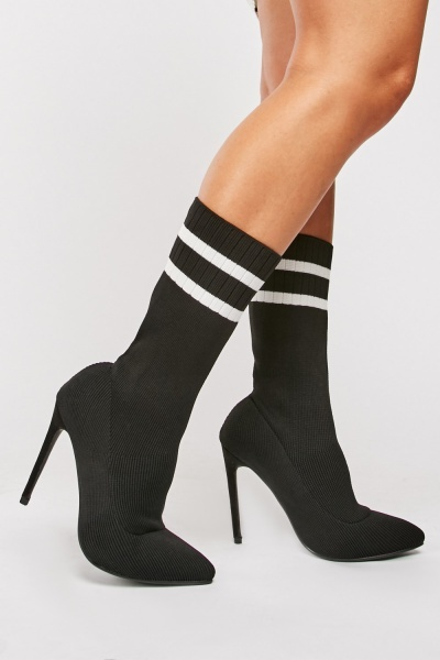 Ribbed Sock Overlay Court Heels