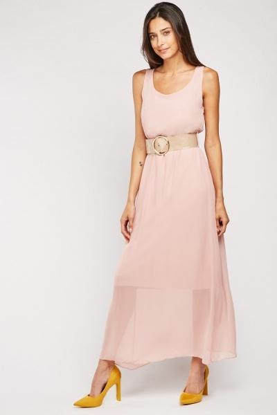 Chunky Belted Chiffon Dress