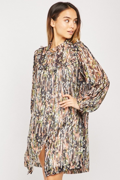 Contrasted Print Sheer Tunic Dress