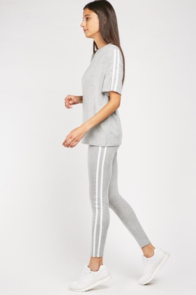 Striped Side Jersey Top And Leggings Set