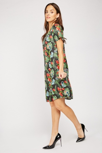 Tropical Print Midi Shift Dress