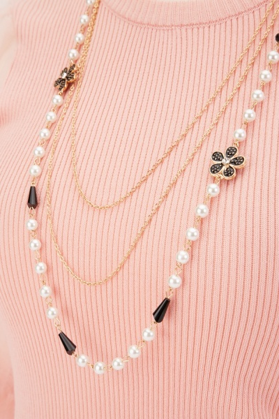 Faux Pearl Chain Tiered Necklace