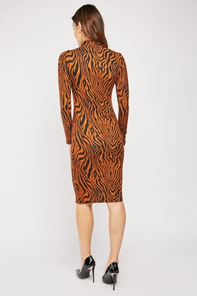 Tiger Printed Midi Bodycon Dress