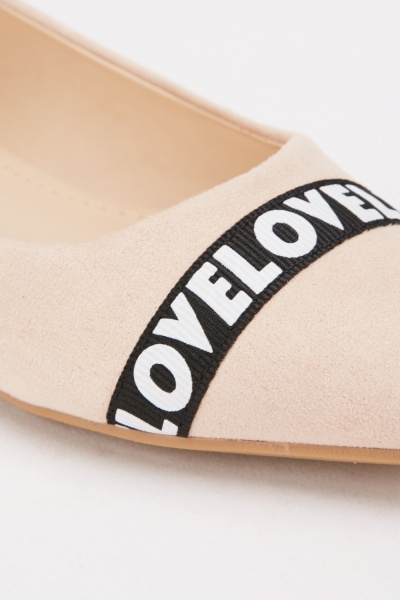 Suedette Love Print Loafers