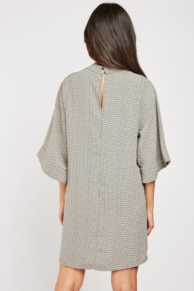 All Over Printed Batwing Sleeve Dress