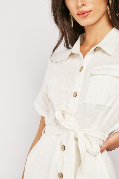 Collared Belted Utility Playsuit