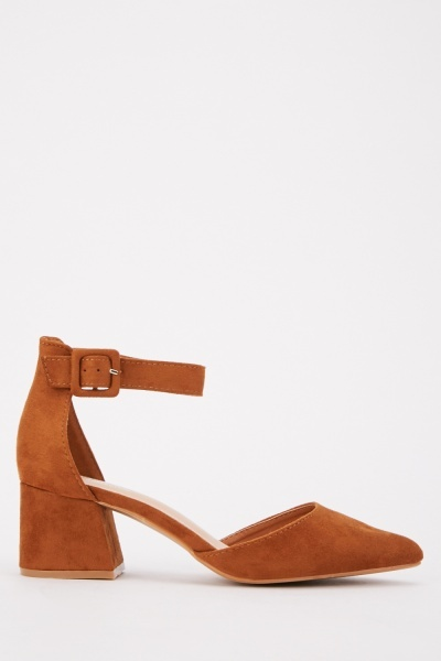 Suedette Block Heeled Shoes