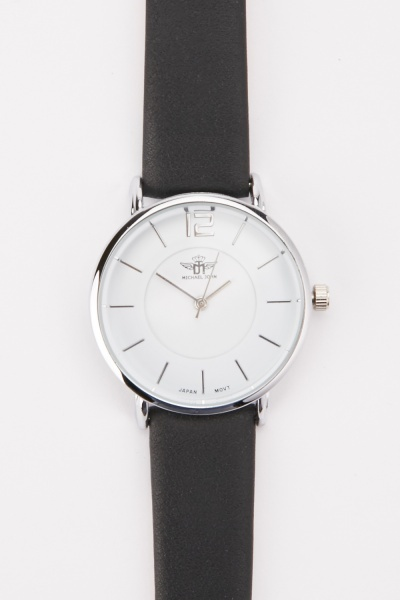 Faux Leather Strap Round Face Watch