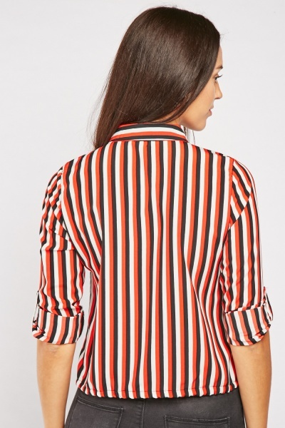 Striped Tie Up Waist Shirt