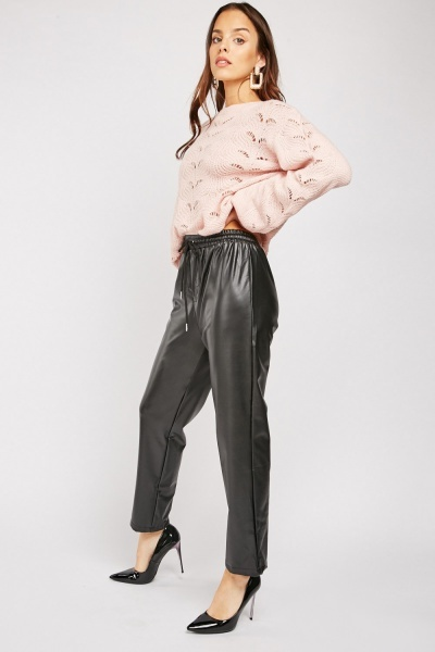 Faux Leather Tapered Trousers
