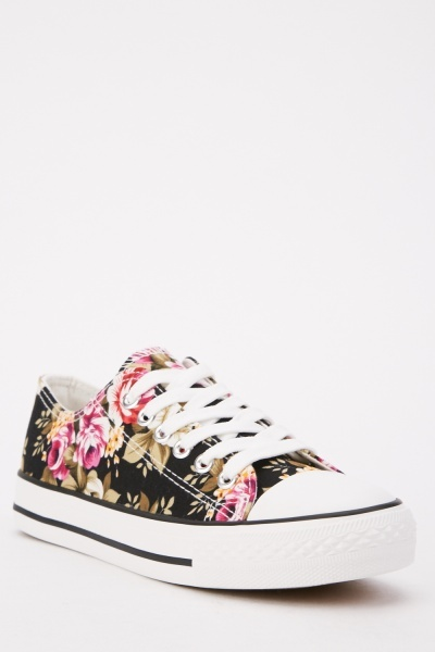 Floral Print Lace Up Sneakers